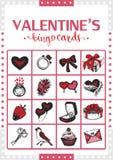 Valentine's vintage bingo card for game. Card 2. Stock Photo