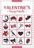 Valentine's vintage bingo card for game. Card 1. Stock Photos
