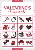 Valentine's vintage bingo card for game. Card 3. Stock Image