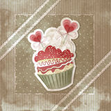 Valentine's vintage cupcake vector illustration