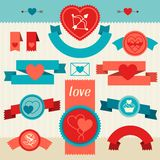Valentine's and Wedding banners, ribbons, badges Royalty Free Stock Photography