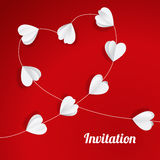 Valentine´s, wedding card paper hearts garland Stock Photography