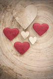 Valentine's wooden hearts on a retro background Royalty Free Stock Photo
