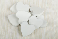 Valentine's wooden hearts Stock Images