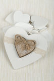 Valentine's wooden hearts Royalty Free Stock Image
