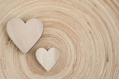 Valentine's wooden hearts on a wooden background Stock Image