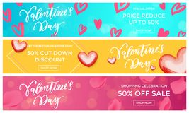 Valentine sale banners design template red heart pattern on floral background. Vector Valentines day fashion shopping season disco Royalty Free Stock Photo