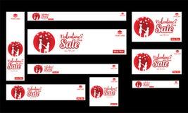 Valentine sale template, poster or banner set with upto 70% disc. Ount offer for Happy Valentine celebration stock illustration