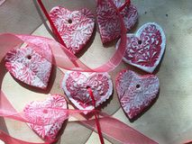 Valentine salt dough ornaments with ribbon Royalty Free Stock Photo