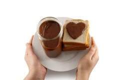 Valentine sandwich and jar on white plate Royalty Free Stock Photography