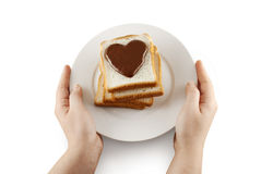 Valentine sandwich on white plate with path Royalty Free Stock Photo