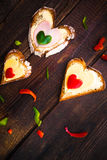 Valentine sandwiches breakfast lovers wooden Royalty Free Stock Image