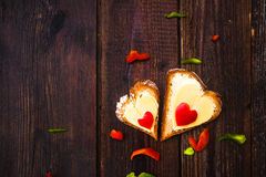 Valentine sandwiches breakfast lovers wooden Royalty Free Stock Photos