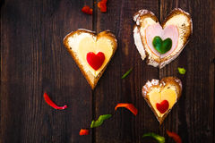 Valentine sandwiches breakfast lovers wooden Stock Image