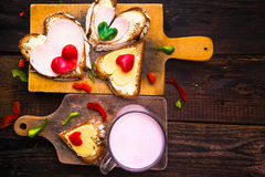 Valentine sandwiches breakfast lovers wooden Stock Images