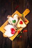 Valentine sandwiches breakfast lovers wooden Stock Image