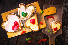 Valentine sandwiches breakfast lovers wooden Stock Photos