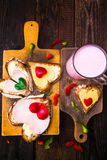 Valentine sandwiches breakfast lovers wooden Royalty Free Stock Photography