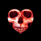 Valentine scary red skull in heart Stock Photo