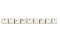 Valentine from scattered keyboard keys on white. Valentine text from scattered keyboard keys isolated on white background royalty free stock images
