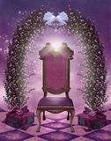 Valentine scenery with a chair. Rose arch and doves Stock Images