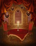 Valentine scenery with hearts. Valentine scenery with fantasy hearts, curtains and a table Royalty Free Stock Photos