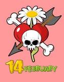 valentine Schedelliefde en bloemen Hart en pijl Stock Afbeeldingen