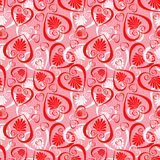Valentine seamless. Background with hearts and flowers Royalty Free Stock Image