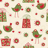 Valentine seamless background with birds Royalty Free Stock Image