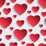 Valentine seamless background with 3d hearts Stock Photos
