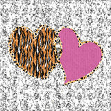 Valentine seamless background on patterned texture Royalty Free Stock Photo