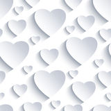 Valentine seamless background with white-grey 3d hearts Stock Photography