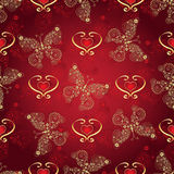 Valentine seamless dark red pattern. With gold and gradient butterflies and hearts vector Stock Photos