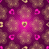 Valentine seamless dotted purple pattern with hearts royalty free illustration
