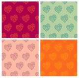 Valentine seamless. Eps 10 vector valentine seamless pattern set with stylized artistic hand drawn hearts. Retro colors Royalty Free Stock Image