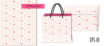 Valentine seamless geometric pattern with hearts and packing vector illustration