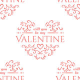Valentine seamless hearts and Love you pattern Royalty Free Stock Photography