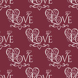 Valentine seamless hearts and Love you pattern Stock Photos