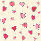 Valentine seamless pattern. Seamless pattern of hearts and hand writing elements stock illustration