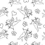 Valentine seamless pattern  with cupids Stock Photo