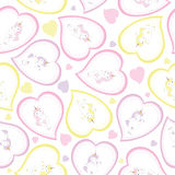 Valentine seamless pattern with cute unicorn girl on love shape for kid wallpaper and scrap paper. Valentine seamless pattern with cute unicorn girl on love stock illustration