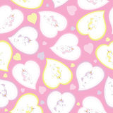 Valentine seamless pattern with cute unicorn girl with love shape on pink background for kid wallpaper and scrap paper. Valentine seamless pattern with cute stock illustration