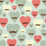 Valentine seamless pattern with heart and mustache Stock Photo