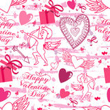 Valentine seamless pattern with hearts and Cupid. Perfect for wallpaper, textile, greeting cards and wedding invitations Stock Images