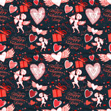 Valentine seamless pattern with hearts and Cupid. Perfect for wallpaper, textile, greeting cards and wedding invitations Stock Image
