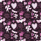 Valentine seamless pattern with hearts and Cupid. Perfect for wallpaper, textile, greeting cards and wedding invitations Stock Photos