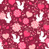 Valentine seamless pattern with hearts and doves Stock Photo