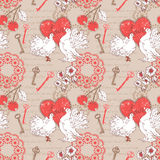 Valentine seamless pattern with hearts and doves Royalty Free Stock Photo
