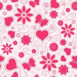 Valentine seamless pattern with hearts and flower stock illustration