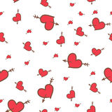 Valentine seamless pattern of hearts. Hand-drawn Saint Valentine seamless pattern of hearts Stock Photography